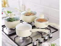 🥗Set Of 3 Ceramic Saucepans + Free Milk Pan in Cream
