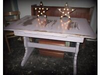 Painted shabby rustic refectory dining table with Ercol base