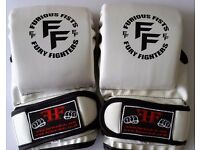 Furiousfistsuk MMA Synthetic Leather Sparring Gloves White Color