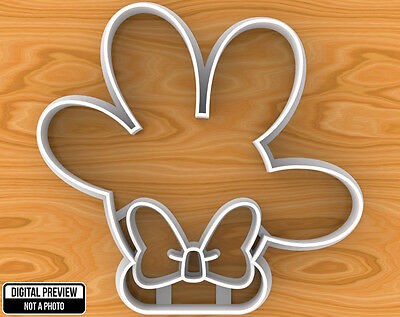 Minnie Mouse Hand with Bow Cookie Cutter, Selectable sizes](Minnie Mouse Bow Cookie Cutter)