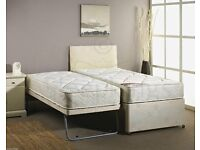 Single guest bed with trundle and mattresses