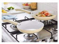 Matching🍳Set Of 2 Ceramic Frying Pans 🍳 Cream