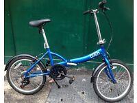 Apollo Tuck Twenty 20 Inch Commuter Blue fold up bicycle, Aluminium folding bike.