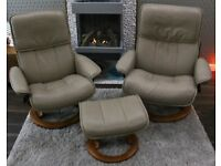 2 x STRESSLESS CHAIRS PLUS A SINGLE FOOT STOOL IN LATTE / LIGHT BROWN LEATHER
