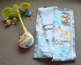 BAby cot mobile and cot breathable bumper with zoo print