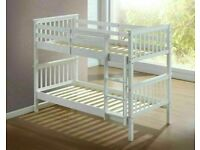 New Single wooden bunk bed in grey/oak/white colour **Optional mattress**