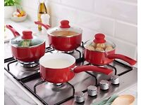 Set Of 3 Ceramic Saucepans+Free Milk Pan NEW