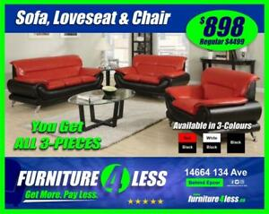BRAND NEW 3-PIECE SOFA, LOVESEAT AND CHAIR-GET IT TODAY FOR ONLY $898