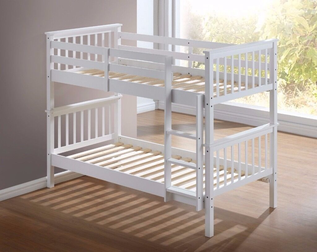 BIGGEST SALE OF THE YEAR White and Pine Atlantis Wooden Bunk Bed 3ft Single- With/Without Mattresses