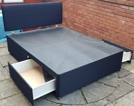 double-size bed base has 2 storage drawers + headboard. Good condition. (separate mattress available