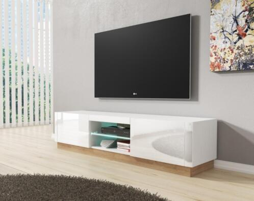 Tv Kast Hoog Glans Wit.Tv Meubel Aron Hoogglans Wit Led Verlichting Tv Kast
