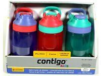Brand New Contigo Kids Autoseal Gizmo Sip Water Bottles - 3 Pack - Spill Proof BPA Free 415ml