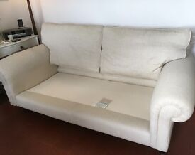 Laura Ashley cream herringbone fabric sofa with removeable cushion covers and arm caps