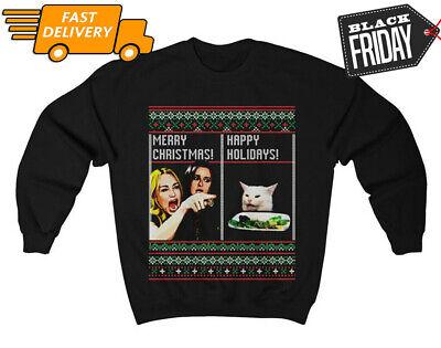 Woman Yelling at Cat Meme Ugly Christmas Xmas Gift Black T-Shirt Size S-3XL ()