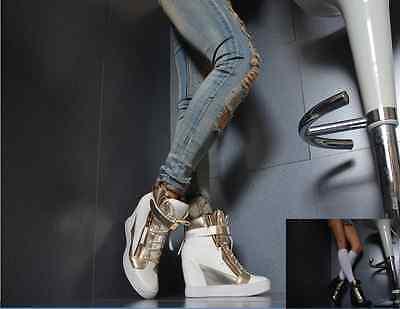 Sexy High Heels Keilabsatz Damenschuhe Trendy Party Pumps Sneaker Nieten Weiß (Weiße Nieten-pumps)