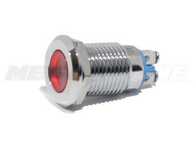12mm Red 12v Led Metal Indicator Light Waterproof Screw Terminal Usa Seller