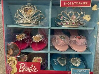 Barbie Shoe & Tiara Dress up Set Includes 2 Crowns & 4 pairs of shoes
