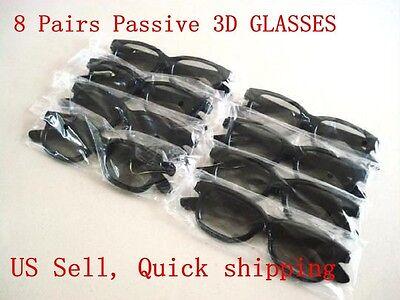 8 Pairs Passive 3D Glasses with Polarized Plastic Lenses for Vizio LG LCD HDTV