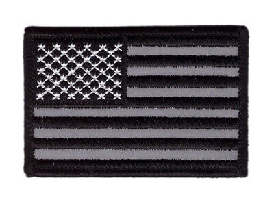 "3 x 2"" Reflective USA Flag American ACU VELCRO® BRAND Hook Fastener Patch"