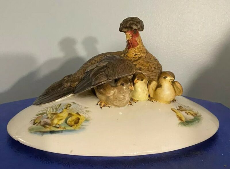 Beautiful Antique French Porcelain Figural Casserole Cover Hen W/ Chicks