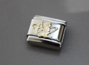 CUPID-AUTHENTIC Nomination Bracelet Charm-Stainless Steel w/18k gold