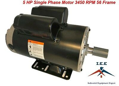 5 Hp Compressor Duty Electric Motor 1 Phase 3450 Rpm 56 Frame 78 Shaft 230v