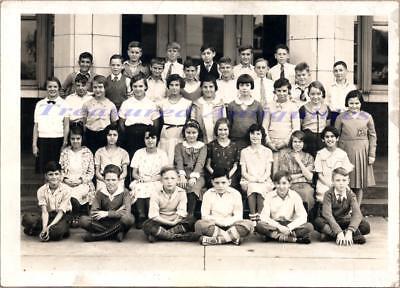1920s Canton Ohio Gibbs Avenue Elementary School 4th Grade Class Students Photo
