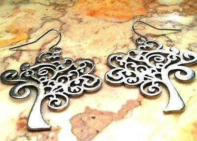 TREE OF LIFE Earrings SILVER SWIRL BIG TREE, Wiccan Kabbalah Celtic Boho Nature