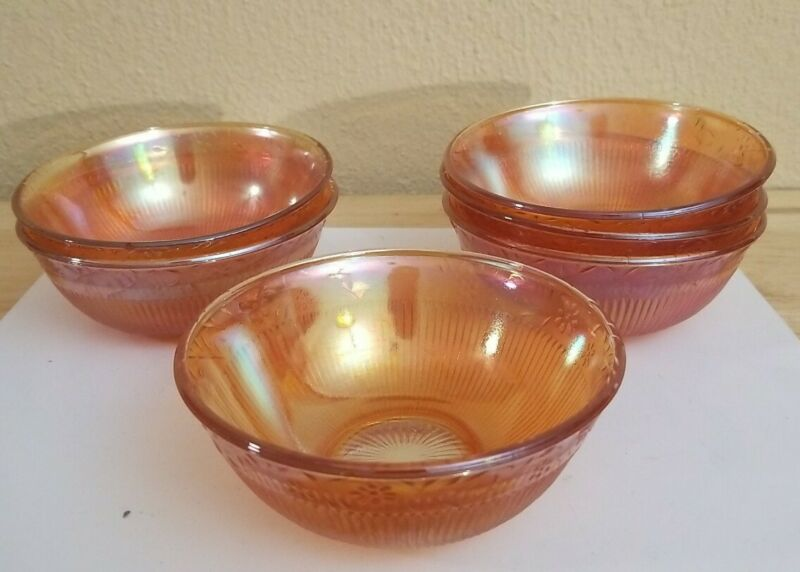 Vintage Marigold Daisy Chain And Ribbed Pattern Carnival Glass Bowls - Set of 6