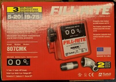 Fill-rite 3-wheel Mechanical 34 In 34 Out Meter 5 - 20 Gpm 50 Psi 807cmk New