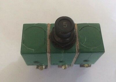 Klixon 6tc2-5 Circuit Breaker 5a Aircraft 3 Phase Airplane Aviation Ms14154-5