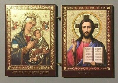 Christ The Teacher and Perpetual Help Madonna and Child Icon Diptych 3 1/2 Inch