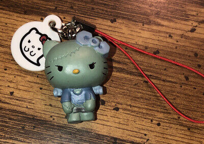 Very Rare SANRIO Hello Kitty Figurine phone Charm strap Frankenstein punk rock