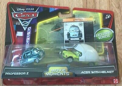 Disney Pixar Cars 2 Professor Z and Acer with Helmet Movie Moments - New In Box