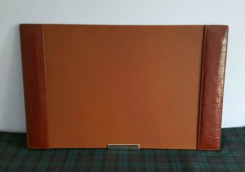 "$595 Ralph Lauren Brown Crocodile Embossed Brown Leather Blotter  27"" x 17"""
