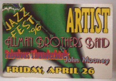 ALLMAN BROTHERS / FABULOUS THUNDERBIRDS - ORIGINAL TOUR CLOTH BACKSTAGE PASS