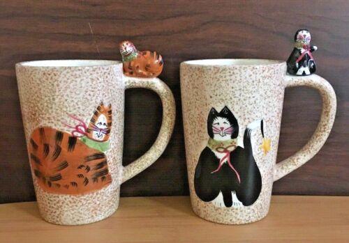 2 Sakura Christmas Cats Cups/Mugs - Fiddlestix Earthenware