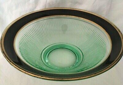 GREEN BLACK GOLD Glass SERVING BOWL Dish RIBBED Antique Vintage 10