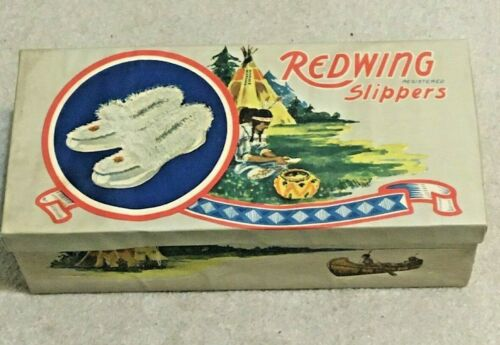 Vintage Redwing Slippers Cardboard Box, Native American Images, Quebec Canada