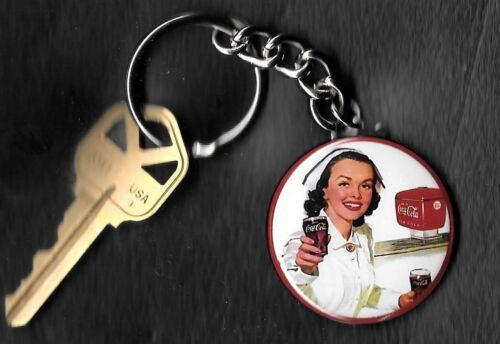 Coca-Cola NURSE COKE Keychain Key Chain 1950