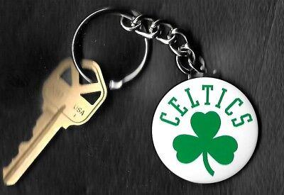 Boston Celtics Logo White Keychain Key Chain NBA - Nba Boston Celtics
