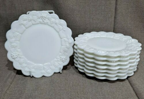 "8 Westmoreland Milk Glass Paneled Grape 6 1/4"" Bread & Butter Plates"