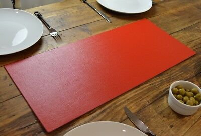 Set of 2 ARTISAN RED Bonded Leather TABLE RUNNERS MATS Centerpiece MADE IN UK