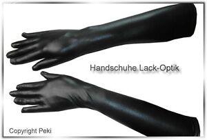 Elegante Handschuhe in Lack Optik ellenbogenlang
