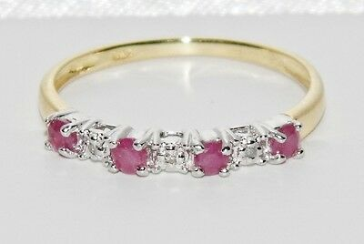 9ct Yellow Gold & Silver Ruby & Diamond Ladies Eternity Ring size N
