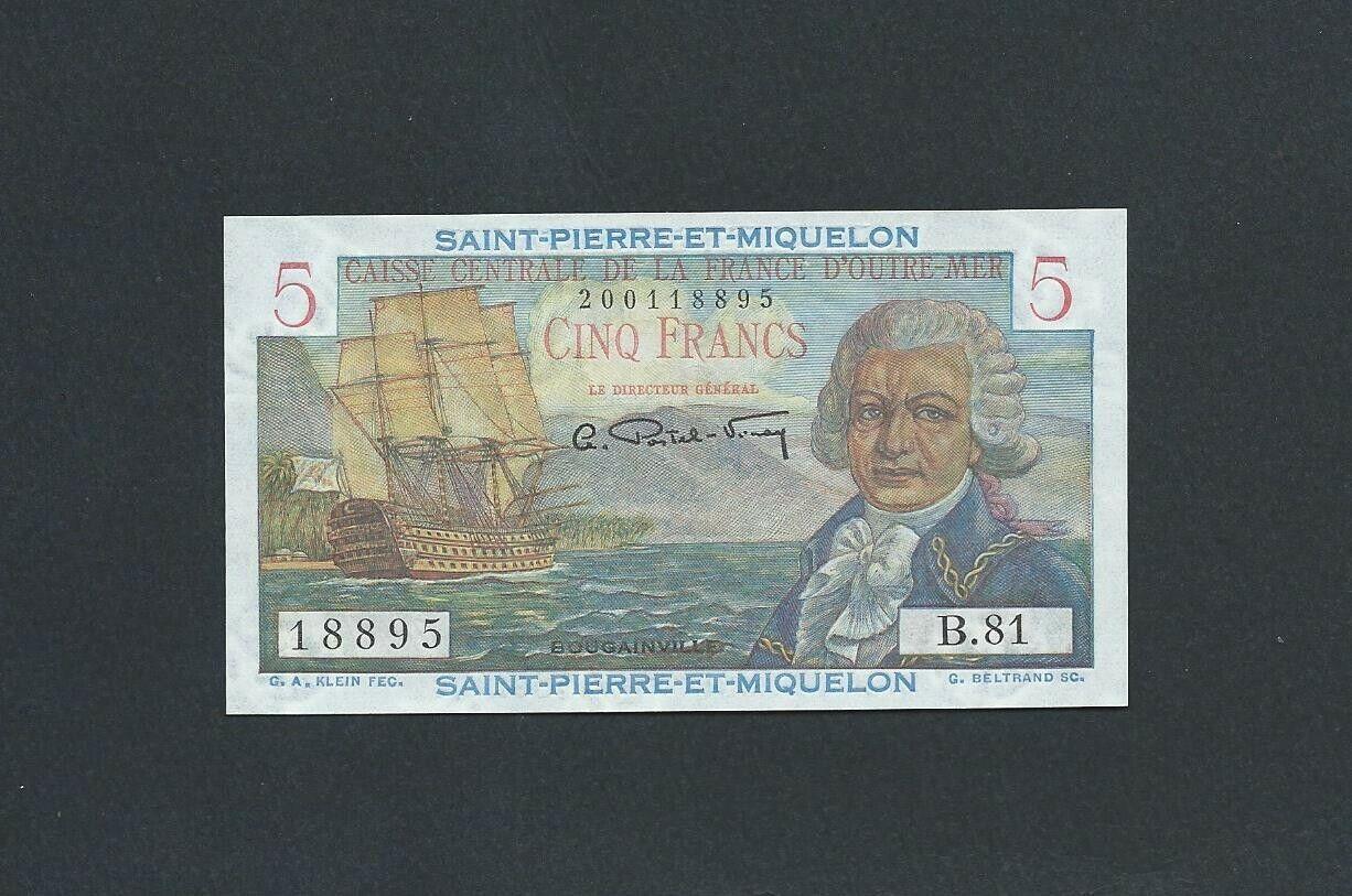 ST PIERRE ET MIQUELON - ND 1950-60 - 5 FRANCS Banknote - RARE Note - NR - $18.50