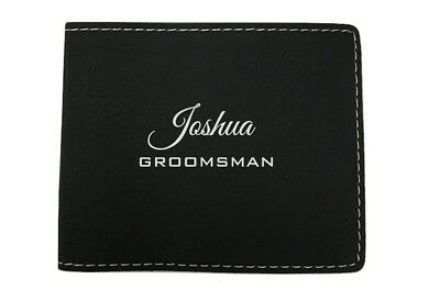 Personalized Mens Wallet Black Bifold Groomsman Best Man Leather Engraved
