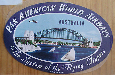 1940s PAN AMERICAN AIRWAYS CLIPPER SERVICE SYDNEY HARBOUR BRIDGE BAGGAGE LABEL