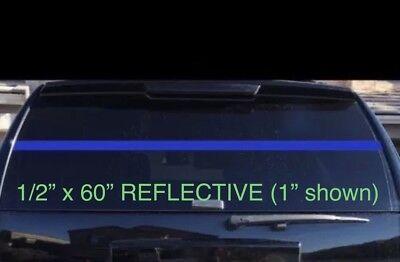 "1"" Inch THIN BLUE LINE Stripe Strip REFLECTIVE Window 60"" 3M Decal Police Live"