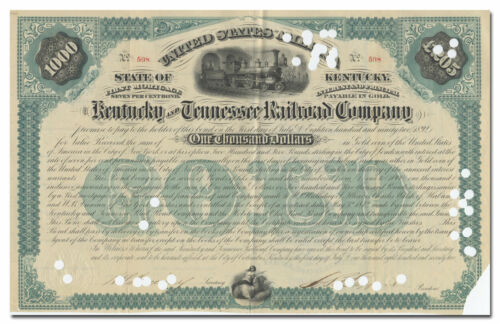Kentucky and Tennessee Railroad Company Bond Certificate (1872)